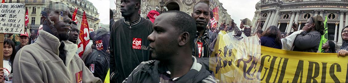 Manifestation pour la régularisation des travailleurs sans-papiers. Place de l'Opéra, Paris, octobre 2009.
